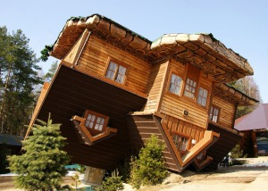"Syzmbark, Poland, features a truly upside-down house. More typical is homeowners with upside-down mortgages. Many of these owners are walking away from their homes with ""strategic foreclosures."""